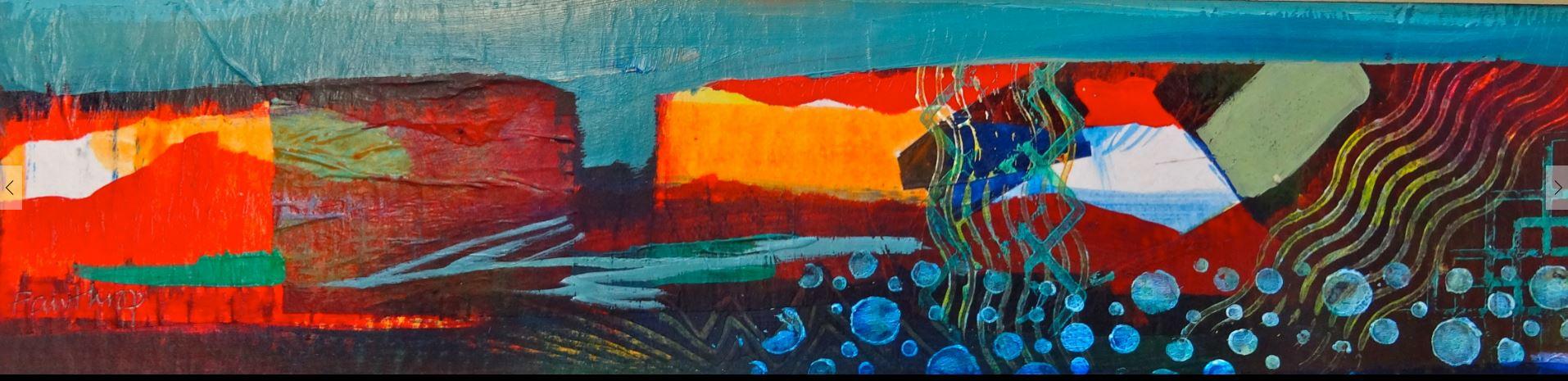 Sea Cliffs, mixed media, 35x7 by Sue Fawthrop