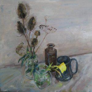 Teasels and evening primrose, George Paul Sainsbury