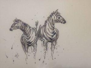 Zebra pair, Sue Peake