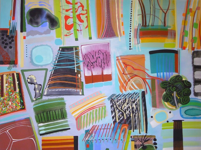 Chloe Fremantle - animal, vegetable and mineral (Highgreen visits) 2015, 90 x 120 cms, acr on canvas.